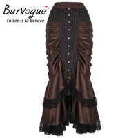 Burvogue Women S Brown Gothic Steampunk Long Maxi Skirt Victorian Vintage Sexy Party Ruffled Satin Skirts