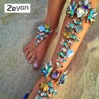 Zeyan Sexy Long Leg Chain Ankle Bracelets Summer Beach Foot Sandals Jewelry Luxury Wedding Bobo Crystal