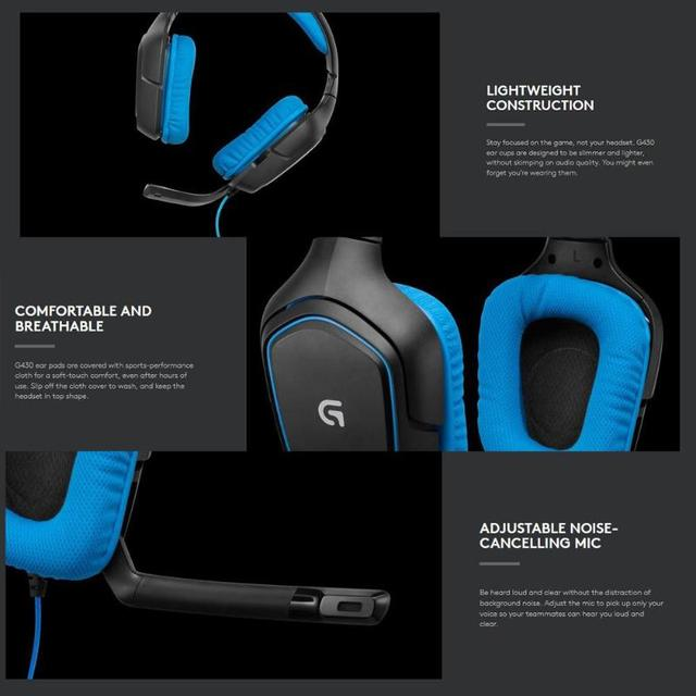 Logitech G430 7.1 Surround Gaming Headset Stereo USB Wired Headphones 6
