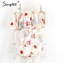 Simplee Off shoulder floral print women jumpsuit romper Elegant ruffle short playsuit Summer 2017 beach vacation sexy overalls