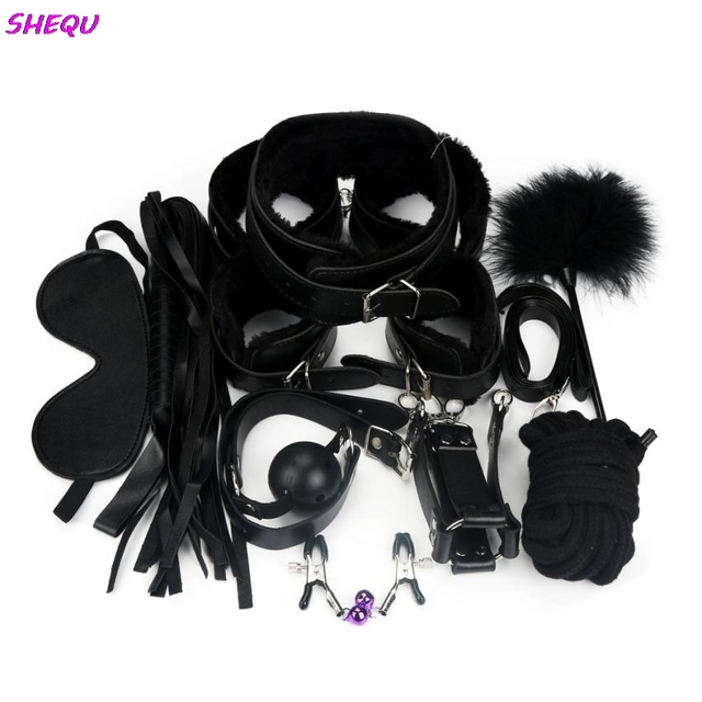 Hot Erotic 10 Pcs BDSM Bondage Restraints Set Kit Ball Gag Cuff Whip Collar Fetish Sex Toys NOV17
