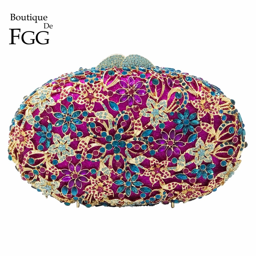 Boutique De FGG Luxury Purple Diamond Flower Handbag and Purse For Women Crystal Bags Wedding Party Bridal Mianudiere Clutch