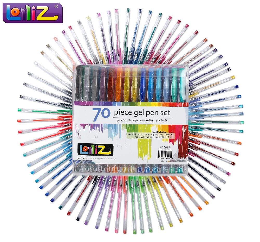 LolliZ 70pcs Gel Pen Set W/Bonus 12 Colors Refills Metallic Pastel Neon Glitter Sketch Drawing Color Pen School Stationery 20pcs lot 90 degree right angle direction usb tpye a male to 5pin micro b male adapter data sync charge cable cord 08