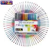 LolliZ 70pcs Gel Pen Set W/Bonus 12 Colors Refills Metallic Pastel Neon Glitter Sketch Drawing Color Pen School Stationery