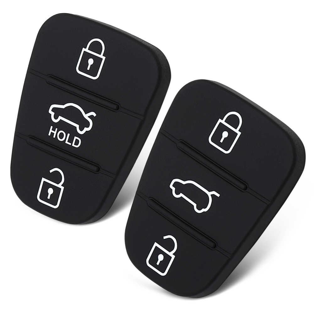 Botão De Borracha de substituição Pad Para Hyundai Accent Solaris Tucson l10 l20 l30 Para Kia Rio Ceed Chave Do Carro Remoto Da Aleta shell