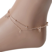 12pcs Sexy Rose Double Layer Copper Beach Sandal Ankle Chain Anklet Foot Bracelet