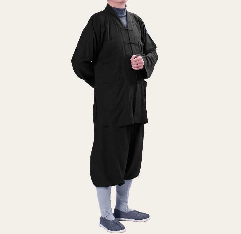 ユニセックス黒のコットン & リネン少林寺僧カンフー服禅レイ瞑想制服仏教僧侶のスーツ服