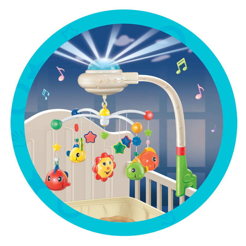 Baby Musical Crib Mobile Bed Bell Baby Hanging Rattles Rotating Bracket Projecting Toys for 0-12 Months Newborn Kids gift baby bed bell toy musical crib mobile rotating rattles baby hanging toys 0 12 months