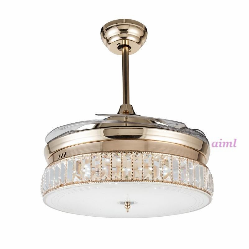 36inch 42inch K9 Crystal Ceiling Fans With Lights Modern Bedroom Living Room Folding Ceiling Fan Remote Control Lamp 110 240v in Ceiling Fans from Lights Lighting