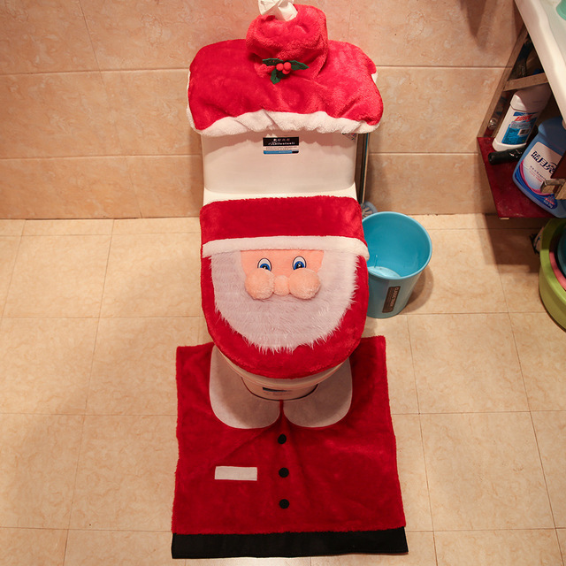 3pcs/set Santa Soft Short Velvet Toilet Lid Cover Non-slip Rug with Water Tank Case for Christmas Home Bathroom Decoration AF050
