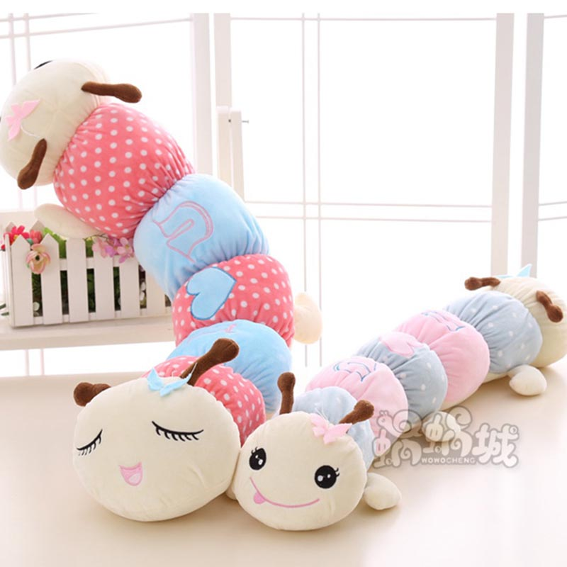 Giant Colorful 0.8m 1m 1.2m Caterpillar Plush Toy Big Cute Stuffed Doll Kids Toy Animal Long Sleeping Pillow Gift for Girlfriend