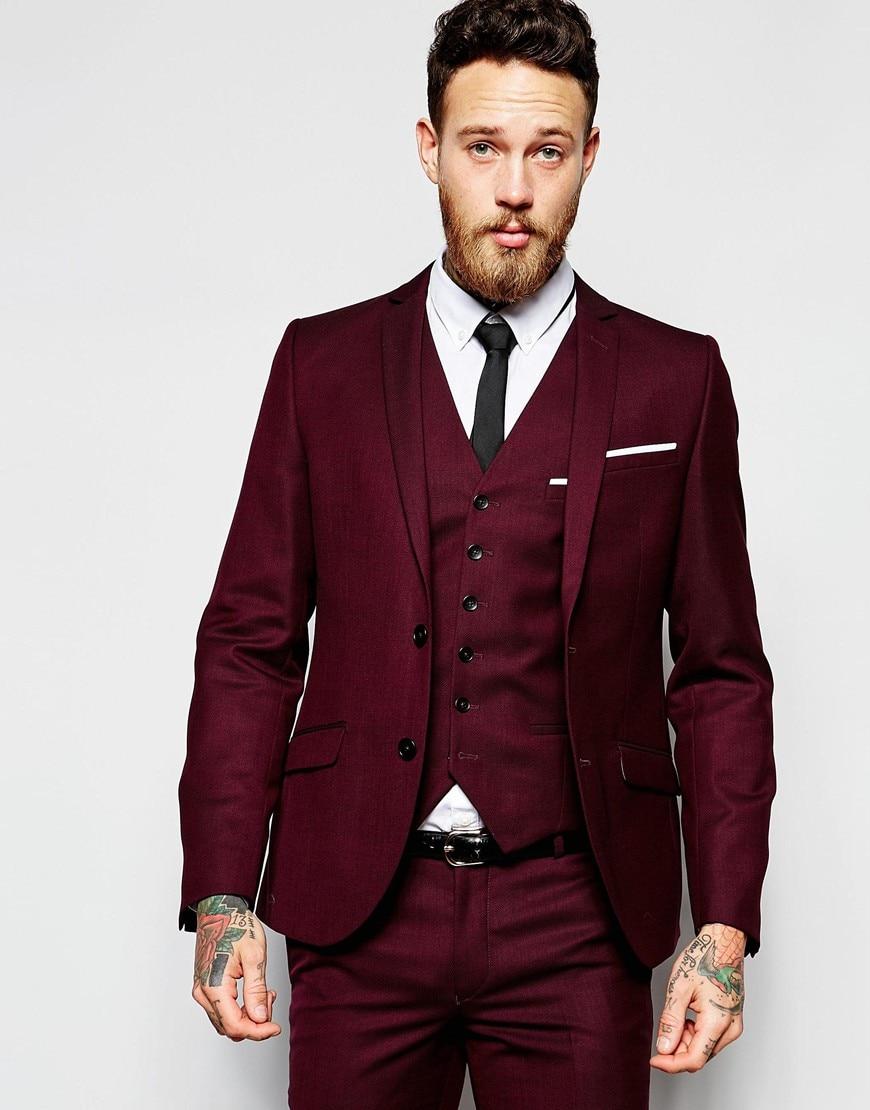 New Design Two Button Dark Red Groom Tuxedos Groomsmen Men's ...