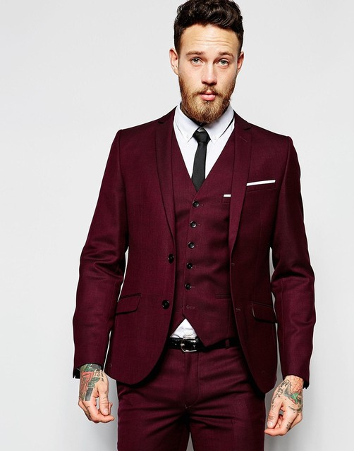 New Design Two Button Dark Red Groom Tuxedos Groomsmen Men\'s Wedding ...
