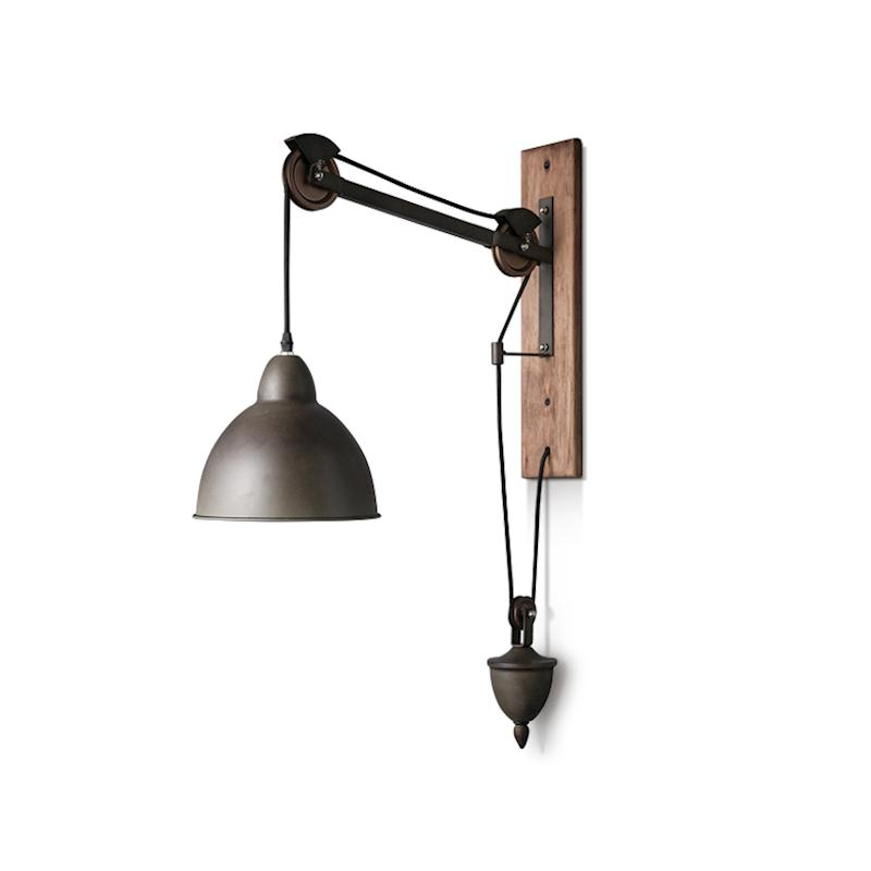promo code 042fd 0c754 US $167.04 13% OFF|Bar Rustic Spindle Pulley wall lamp light E27 led bulb  Arandela vintage Industrial lighting Coffee shop Retro wall light  sconces-in ...