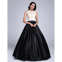 040ebad7540 TS Couture Ball Gown Illusion Neckline Floor Length Lace Stretch Satin Prom  Dress with Beading Appliques