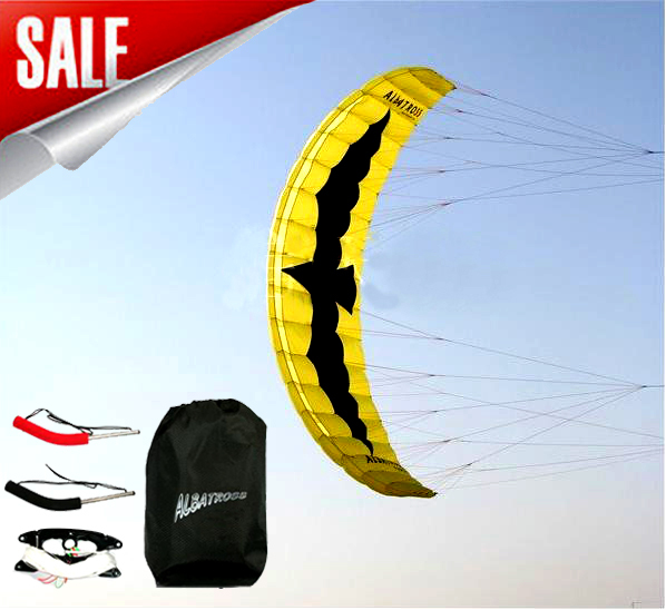 free shipping high quality 5 square meter Stunt  Power kite boarding with control bar and line traction kite flying outdoor toys