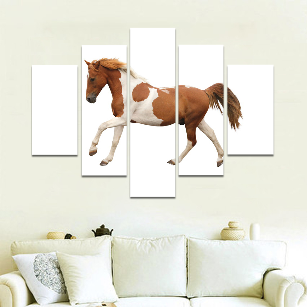 Unframed Canvas Animal Painting Brown White Horse White Pictures Prints Wall Picture For Living Room Wall Art Decoration