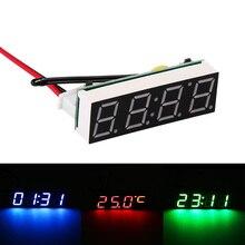 Горячая Распродажа, новые миниатюрные автомобильные цифровые часы, термометр, Вольтметр 3 в 1, светодиодный дисплей, цифровой таймер, вольтм...