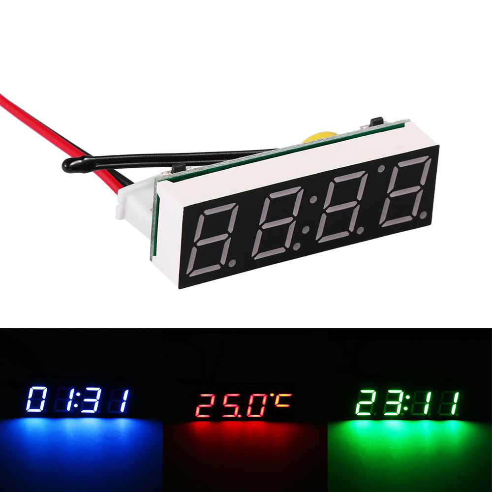 Nieuwe Mini 3 In 1 Auto Elektrische Klok Thermometer Voltmeter Led Display Digitale Timer Voltmeter Interieur Elektronische Accessoires