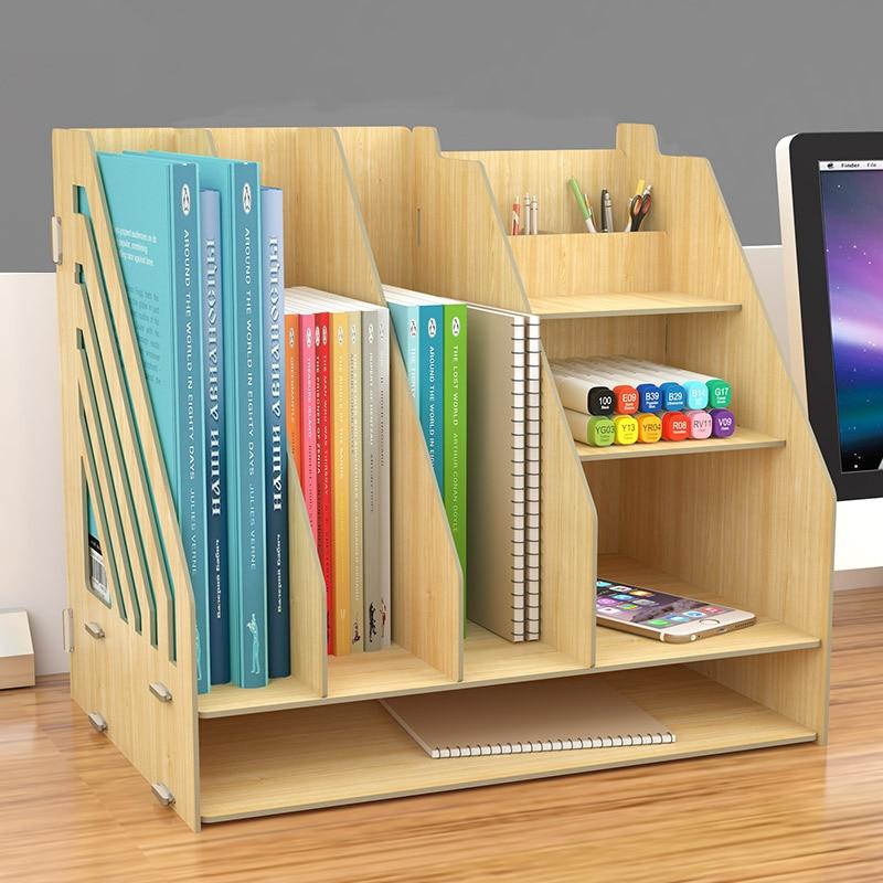 Us 48 19 Diy Desktop Book Shelf Desktop Storage Box Documents Books Storage Multi Layer Finishing Rack Office Supplies In Bookcases From Furniture