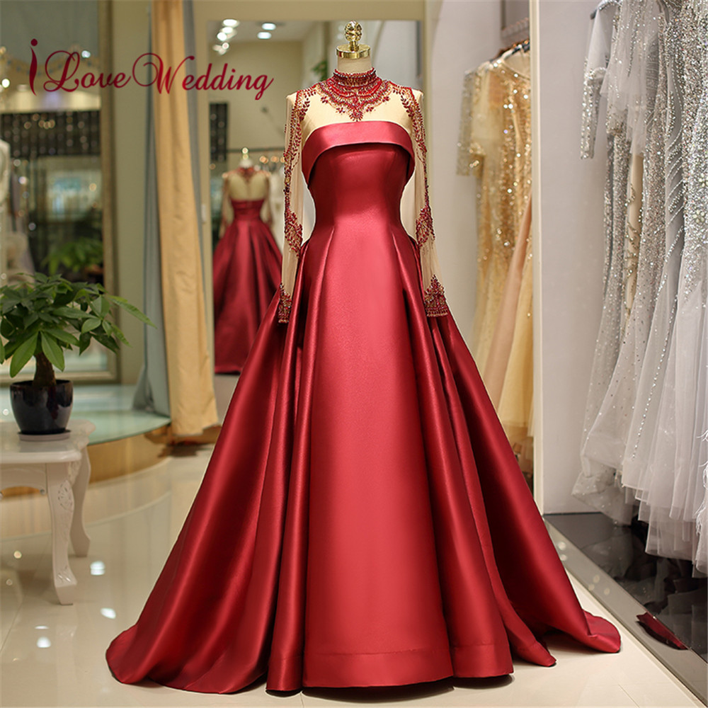 iLoveWedding   Evening     Dress   Long Sleeves Gorgeous Beaded Elastic Satin A Line Formal Long Real Photo   Evening   Gowns 2018