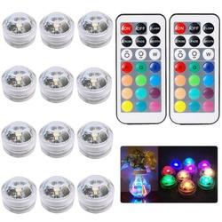 Погружной RGB светильник с дистанционным управлением, питание от батарейки, подводная лампа для ВАЗ, чаш, уличное украшение для сада, свадьбы,...
