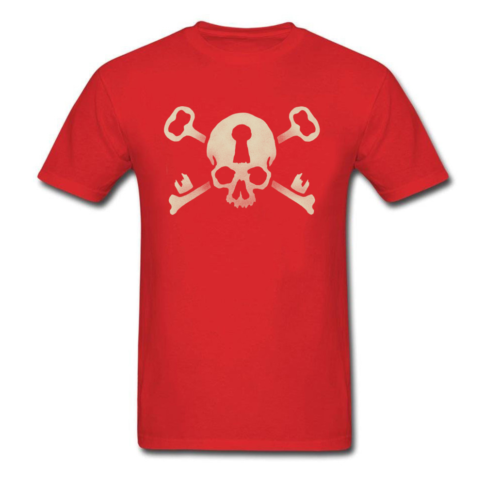 Deadlocked T shirt Men Red T Shirt Skull Tees Custom Halloween Street Tops Cotton Short Sleeve Slim Fit Clothes Boyfriend Gift in T Shirts from Men 39 s Clothing