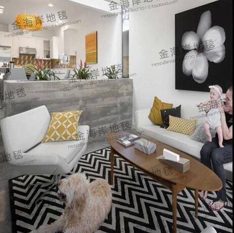 Mode noir et blanc ondulé tapis salon table basse canapé lit chambre tapis magasin pour fait main personnalisé acrylique