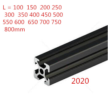 1PC BLACK 2020 European Standard Anodized Aluminum Profile Extrusion 100-800mm Length Linear Rail For CNC 3D Printer