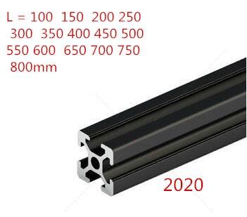 1PC BLACK 2020 European Standard Anodized Aluminum Profile Extrusion 100-800mm Length Linear Rail For CNC 3D Printer