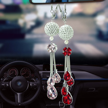 Car Pendant Diamond Crystal Ball Automobile Decoration Auto Interior Rear View Mirror Suspension Hanging Ornament Gifts