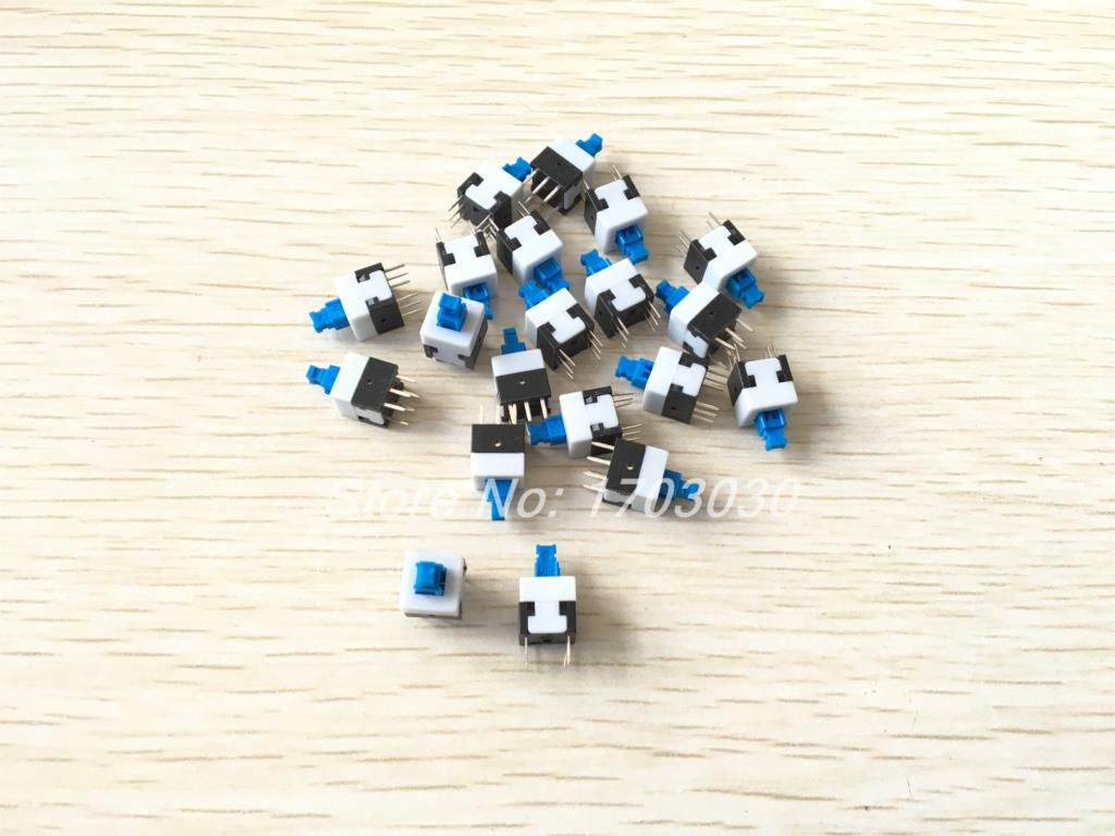 30Pcs 6 Pin 8mmx8mm Latching DPDT Mini Computer Reset Push Button Switch