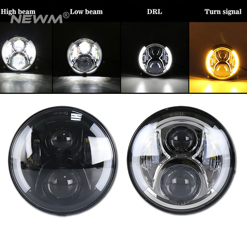 80W 7 Inch Round With CREE LED Chips LED Headlight Kit H4 H13 High Low Beam