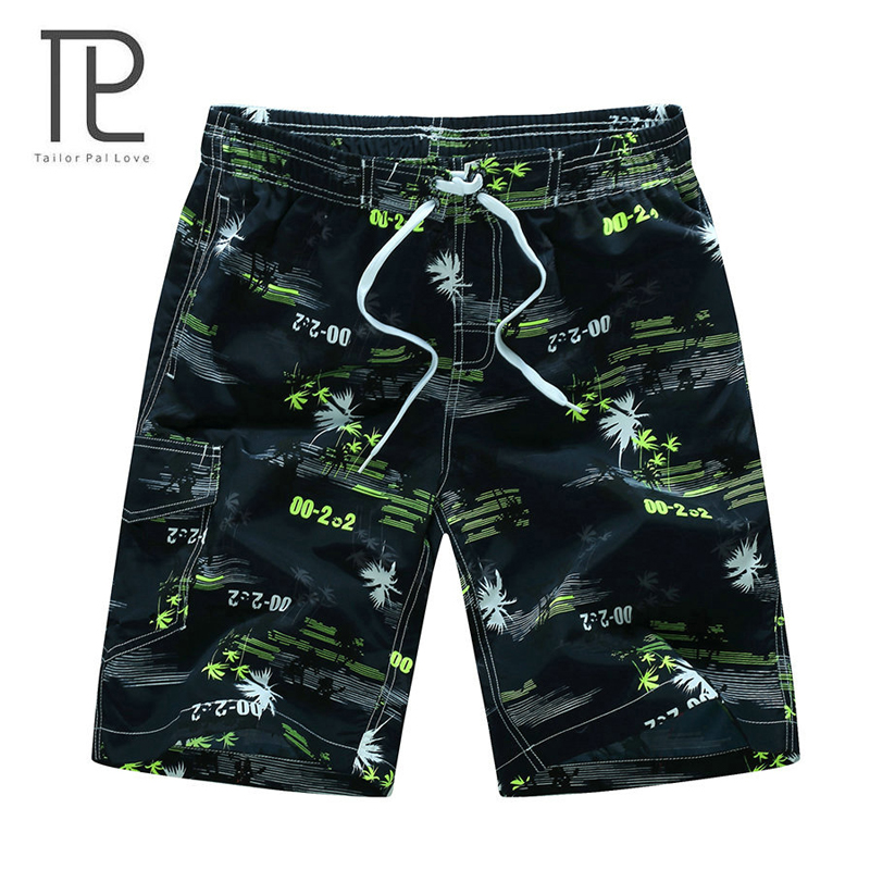 2018 Hawaiian Style Men's Board Shorts Durable Swim Trunks Summer Fast Drying Beach Shorts With Side Pockets Daily Sportswear