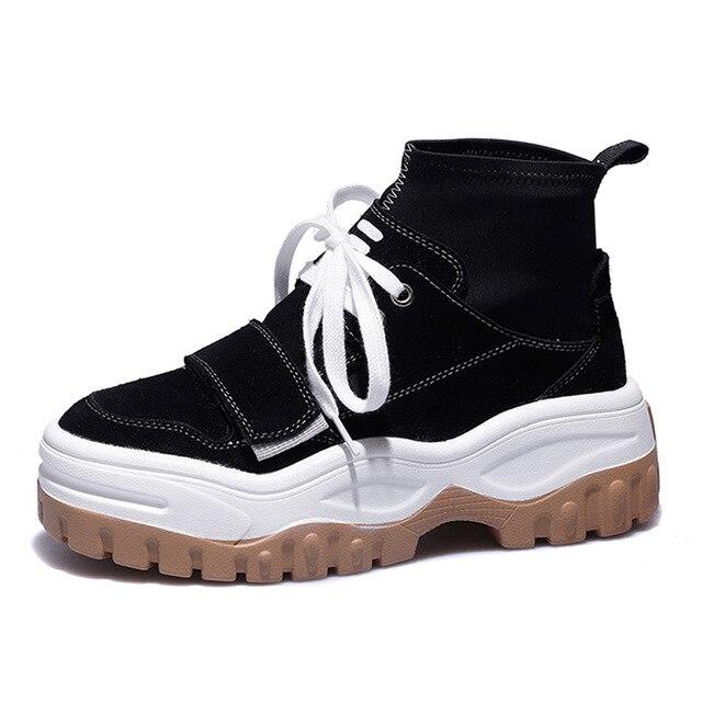 01 02 Mode Véritable Épaisse Vache Automne forme High Femme Semelle Sneakers Plat Plate Femmes En Hiver Cuir Daim Top Chaussures fUHwrBFqf