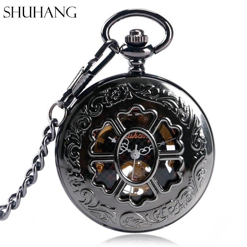 SHUHANG New Mechanical Pocket Watches For Men Women Beautiful Flower Stylish Watch Luxury Pendant Vintage Black Free Shipping