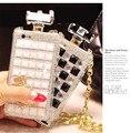Ручной Роскошный Флакон духов Bling Телефон Дело Алмазный Кристалл Обложка С цепь для Samsung S3 S4 S5 S6 Note3 NOTE4 Чехол Капа