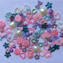 300 шт пастельные смешанные жемчужины в форме сердца с бантиком и драгоценными камнями для украшения ногтей своими руками 6-15 мм