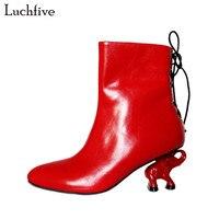 2018 Nova Moda Red Elefante Designer de sapatos de Salto alto Botas de Tornozelo Mulheres Couro Genuíno Voltar Lace Up High Heel Botas Mujer