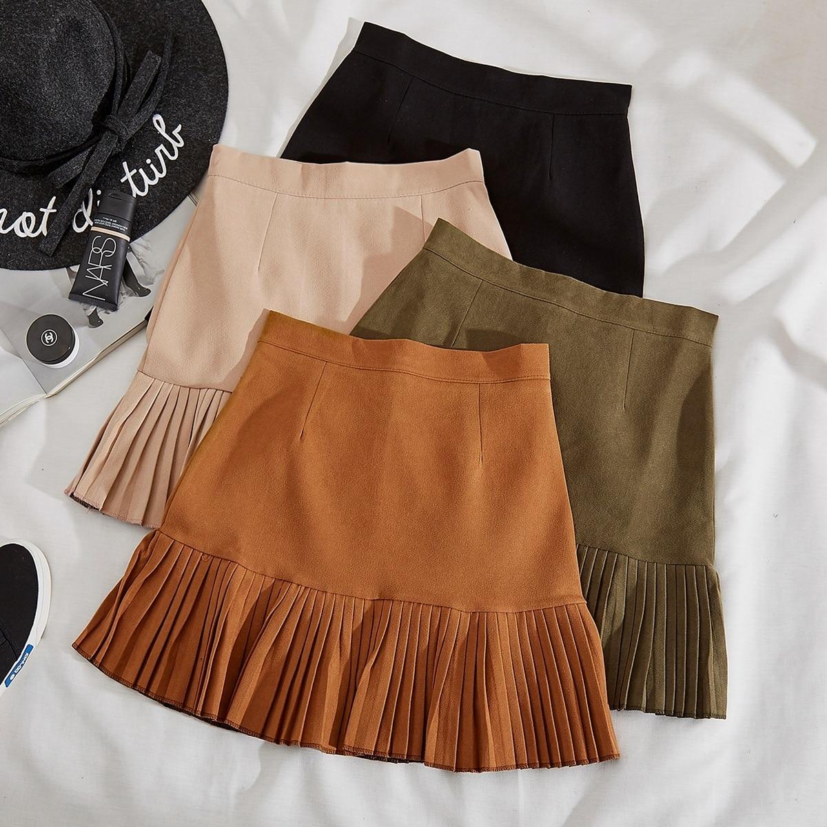 Beautiful Clothing 2018 Spring East Gate Imitate Chamois Down High Waist Short Skirt A Word Skirt Bouffancy Half-body Skirt