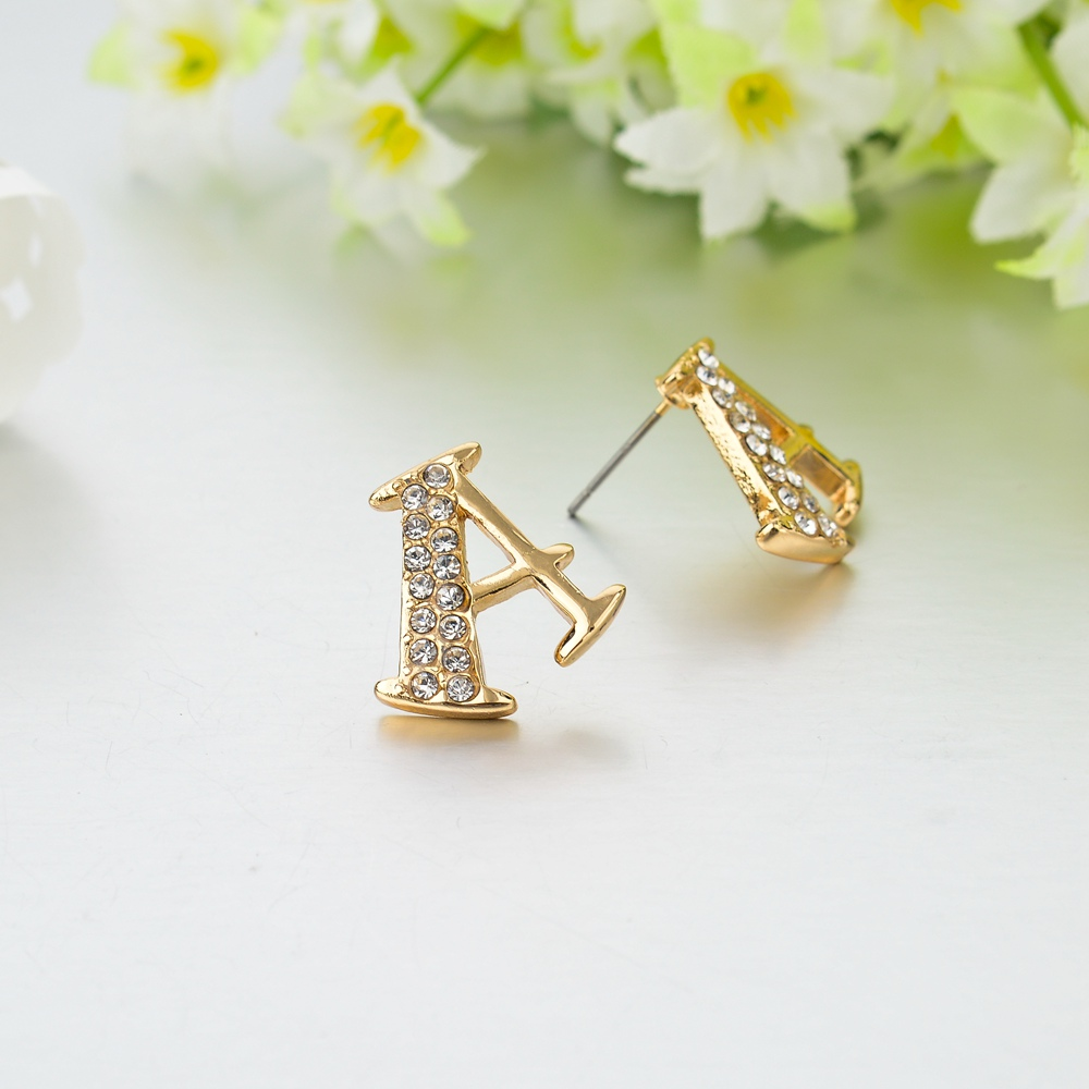 TOUCHEART cute A crystal stud earrings for women girls gold ...