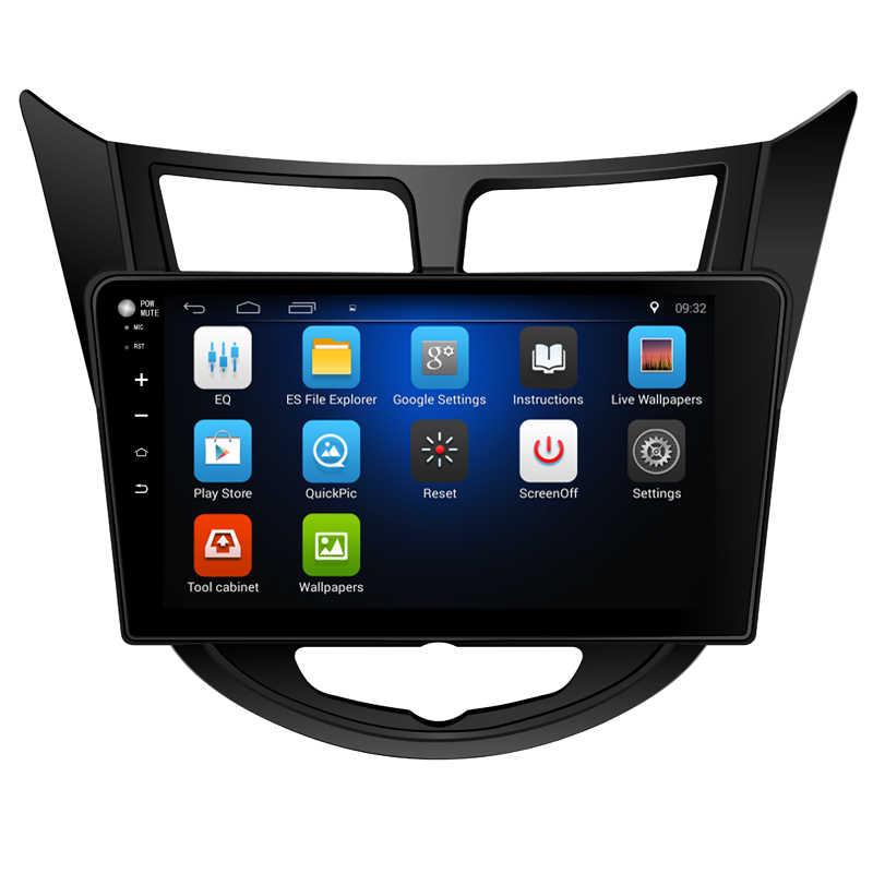 """10.2 """"Android 7.0! Xe DVD PC Đa Phương Tiện DVD Player GPS Navi Stereo Đài Phát Thanh Phù Hợp Với Hyundai Verna/Accent/Solaris 2011-2018 3 gam WIFI OBD"""