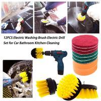 12 個電気洗濯ブラシ電気ドリルセット用ガラス車のタイヤクリーニングブラシ電源スクラバードリルブラシキット