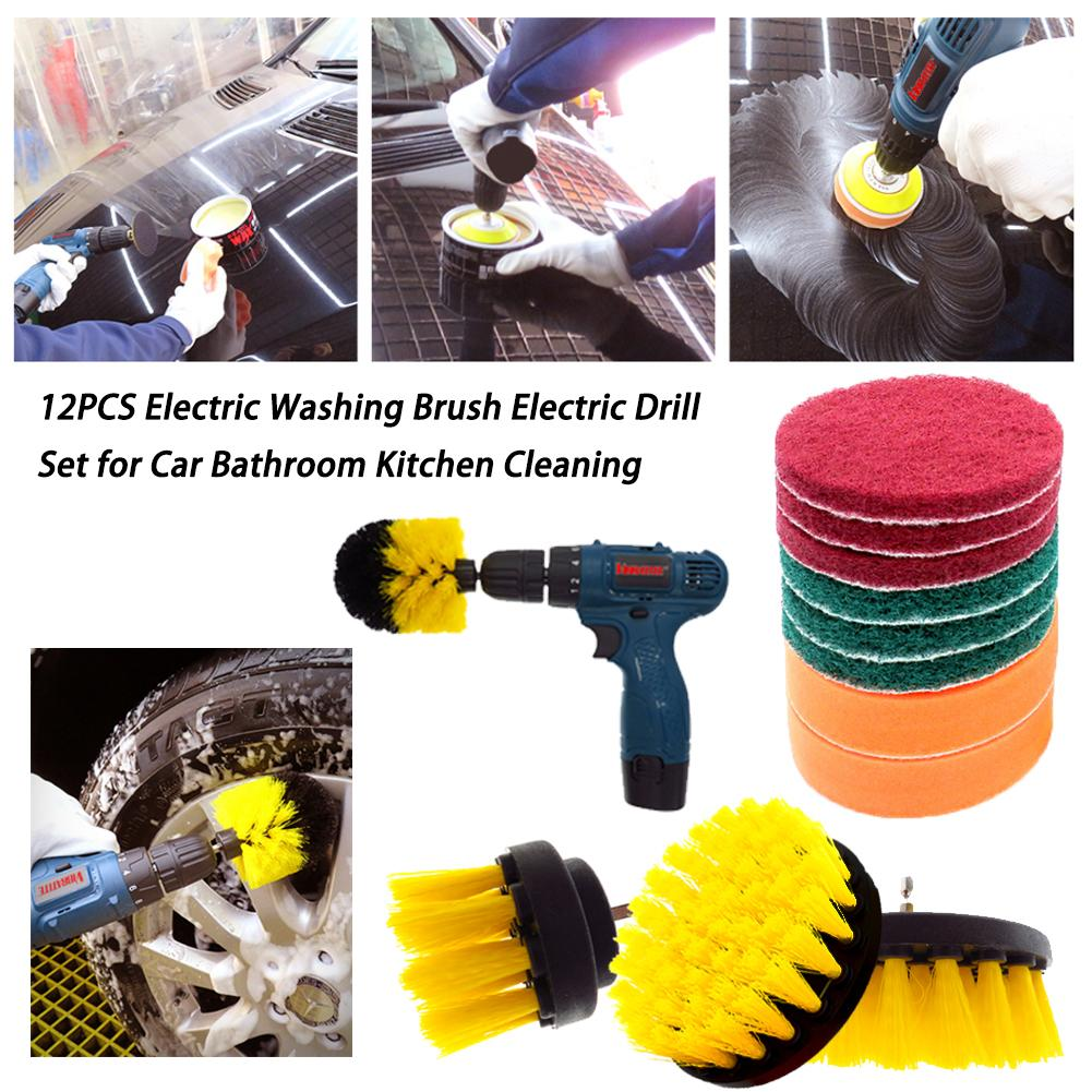 12PCS Electric Washing Brush Electric Drill Set For Carpet Glass Car Tires Cleaning Brushes Power Scrubber Drill Brush Kit