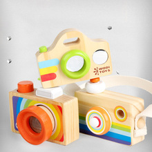 Wooden Bee Eye Multi-prism Kaleidoscope Childrens Puzzle Early Learning Toys Play House Creative Simulation Camera gifts