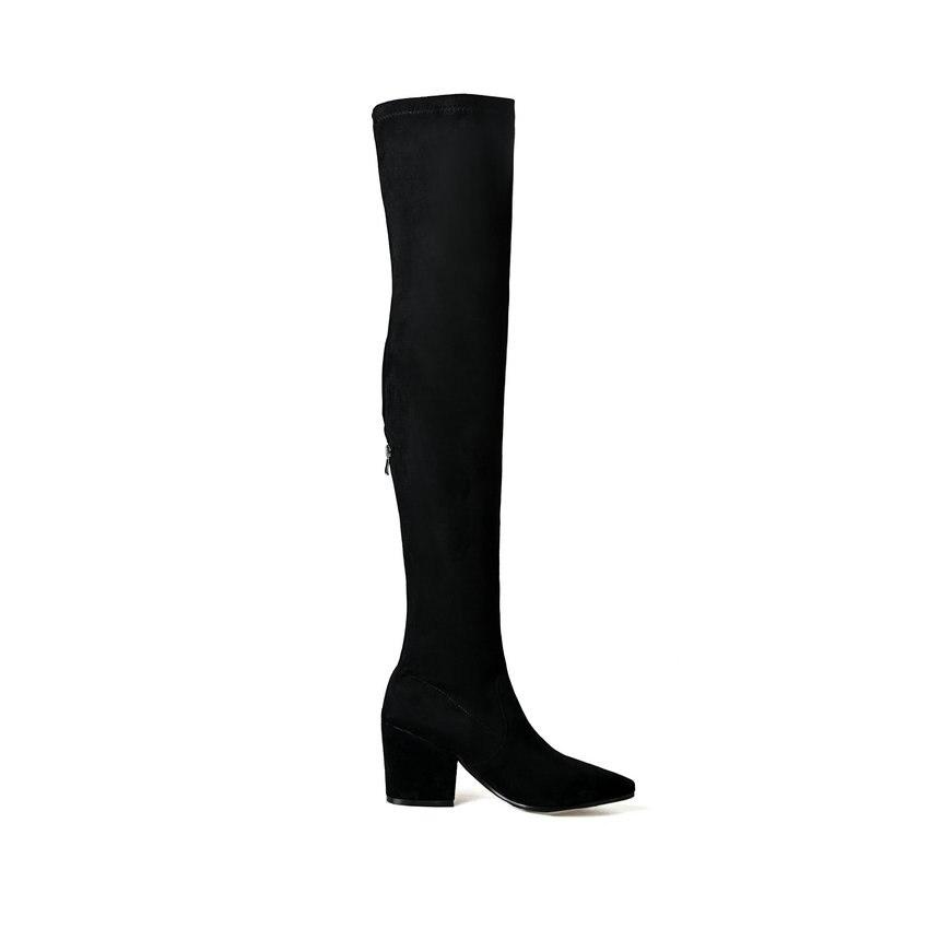 Sur Hiver rouge Stretch Tissu Chaussures Femmes Med Talons Noir 2018 Lycra Bout gris Genou Pointu Le Tasslynn Taille Bottes Sexy 38 T1lFKJc