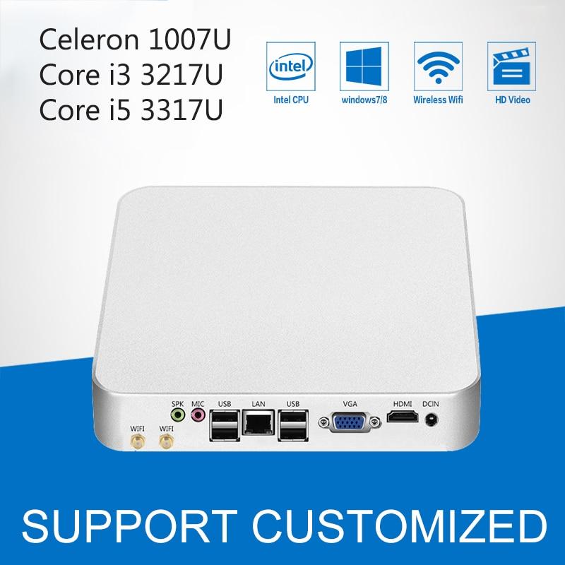 Intel Mini PC Core i3 3217U i5 3317U Celeron 1007U Cooling Fan Windows 10 Mini Computer Desktop HTPC Multimedie Office Computer