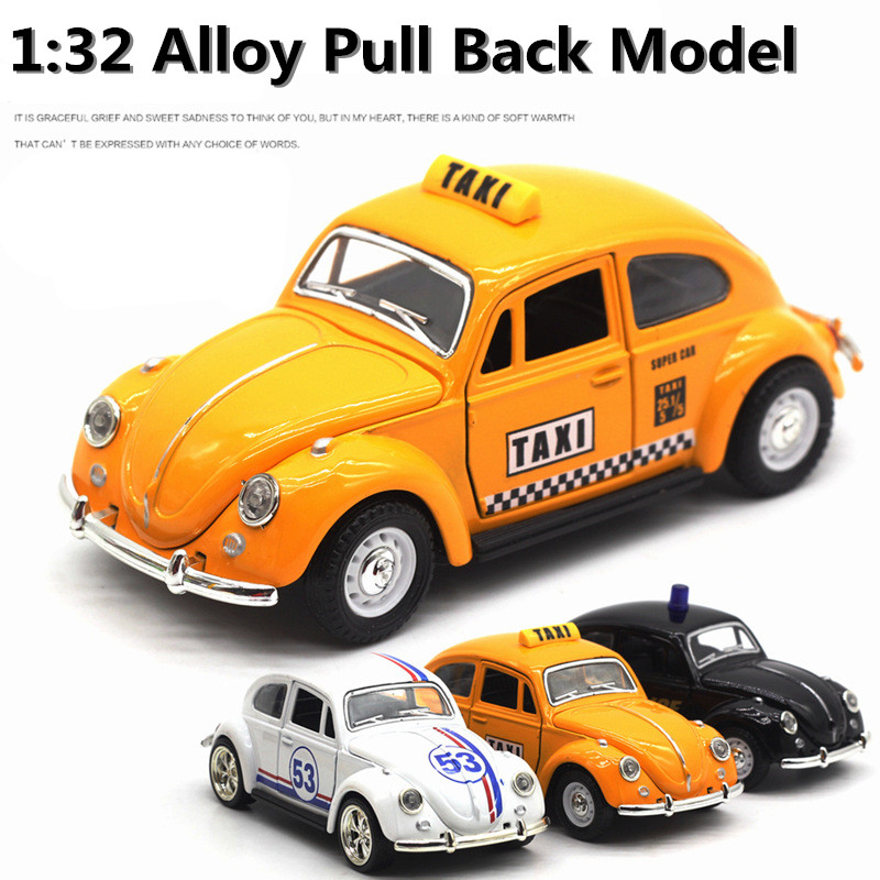 High simulation supercar, 1:32 alloy pull back car, metal diecasts, Volkswagen Beetle taxi, free shipping