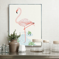 Christmas Home Decoration Aluminum Alloy Metal Paintings Frame Print Animal Flamingo Canvas Painting Nordic Picture Photo