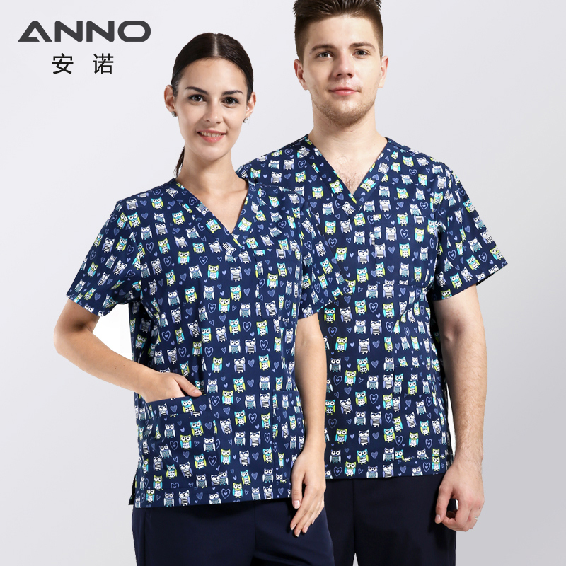 ANNO V Neck Nursing Uniforms print Medical Clothing 35%Cotton 65%Polyester Medical scrubs suits female male Nursing Accessories